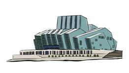 重庆大剧院新朝天门手绘背景手绘场景由闪狼动