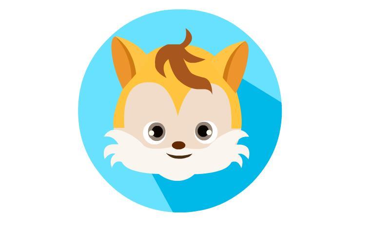 扁平化可爱小松鼠用flash软件绘制出来效果也这么